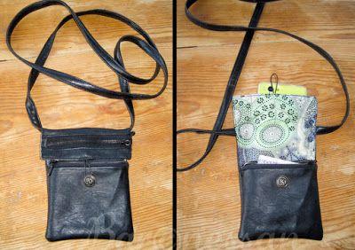 Väska gjord av loppisfyndat tyg. Bag made from recykled fabric.