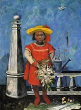 Oil on canvas of a girl with flowers. Rufino Tamayo