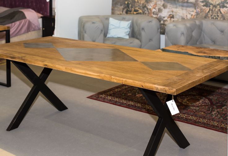 Marcus table. Combination with oak and patinated sheet metal on black, steel legs. Price: 6 000 PLN