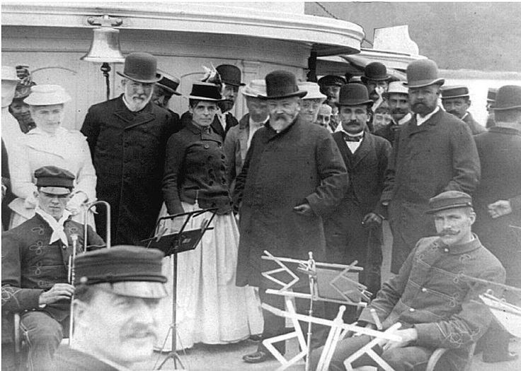 James G. Blaine, President Benjamin Harrison, and Henry Cabot Lodge on vacation in Bar Harbor, Maine.