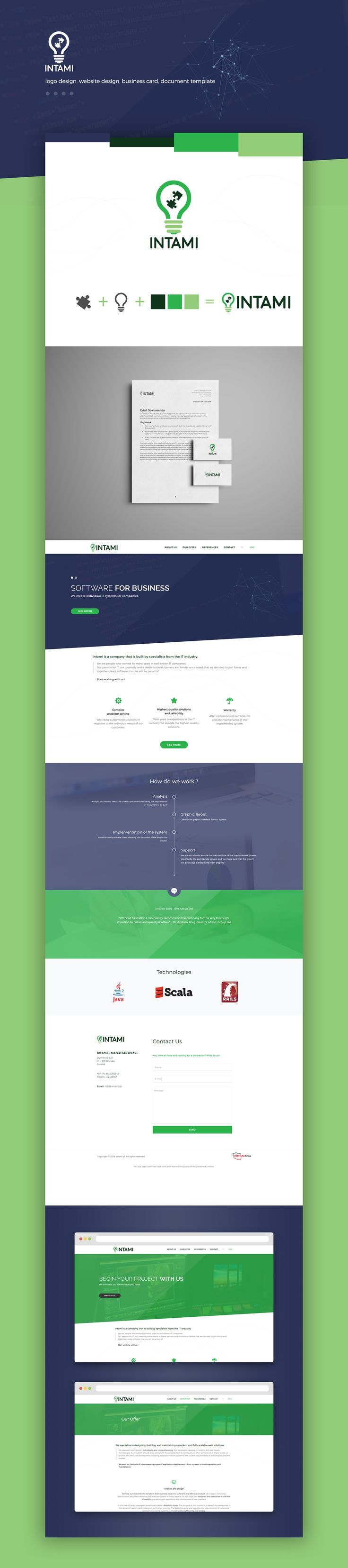 Intami is a company that is built by specialists from the IT industry.  We created new logo, business card, document template and responsive Wordpress website in two languages.