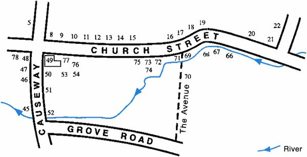 "An enlarged version of the previous map and this concentrates on the more populous centre of Walsham le Willows. ""Church Street"", ""Grove Road"" and ""The Avenue"" are marked as well as the numbers that happen to all in this central area."