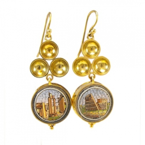 Victorian (c.1870) 18ct gold micro mosaic earrings depicting Roman scenes of the Colosseum/Coliseum and possibly the remains of the Temple of Castor and Pollux in the Roman Forum.   Micro mosaics are made of small pieces of glass or stone. Hugely popular in the 19th century when rich Europeans made their Grand Tours around Europe and bought these as souvenirs, often taking them home to be set into jewellery or other objects. The mosaics depicting Italian landmarks are now highly collectable.