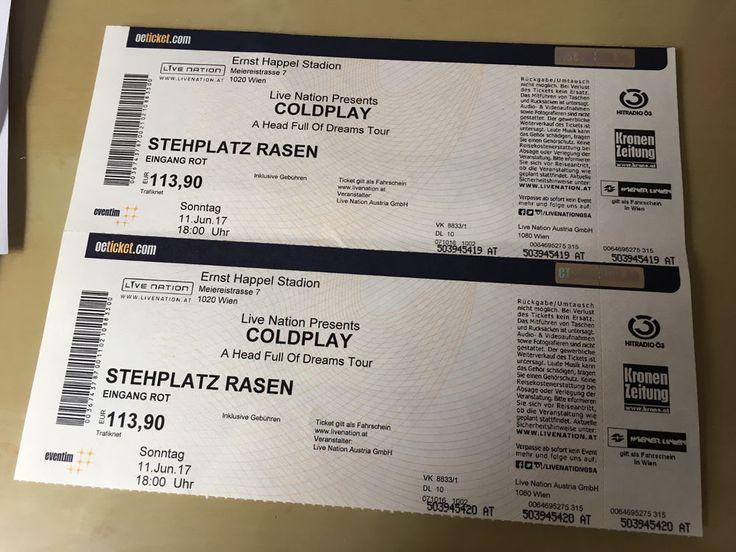COLDPLAY - Wien - Ernst Happel Stadion - 2 x Stehplatz | eBay