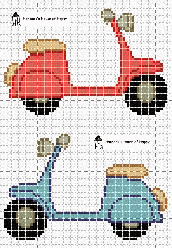 And awaaay we go!  Free vespa scooter cross stitch chart free download @Kate Mazur Bergeron