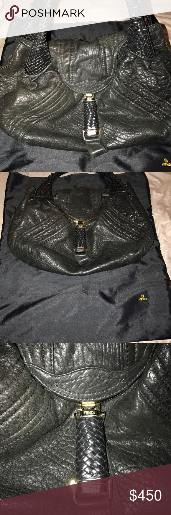 Fendi spy bag Blk nappa leather. Braided handles, classic fendi canvas interior Fendi Bags Satchels