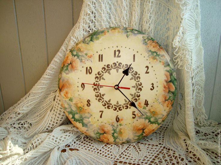 """Купить Часы круглые """" Оранжевые розы"""" - часы декупаж, часы цветочные, часы с цветами"""