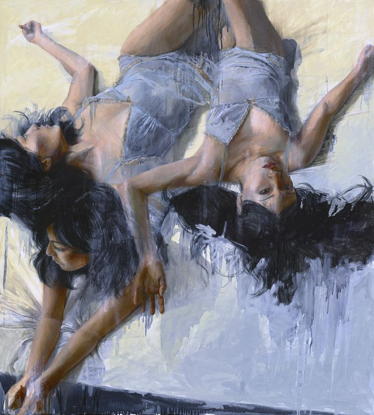 Tuberose by Christine Wu- Long black flowing hair sprawls over the soft white sheets as this beautiful woman tosses and turns on her bed in stylized action. Limited edition Giclée art print artwork by famous artist Christine Wu.