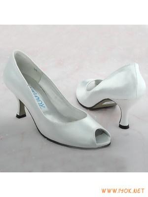 Buy Simple White Peep Toe Satin Bridal Shoes UK At Cheap Price