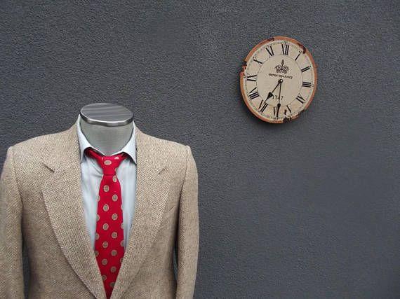 1980s Vintage Tweed Jacket / Herringbone Tweed Blazer 38R