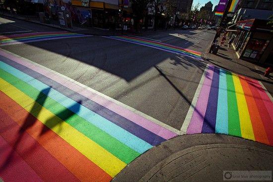 The rainbow crosswalk on Davie Street, Vancouver