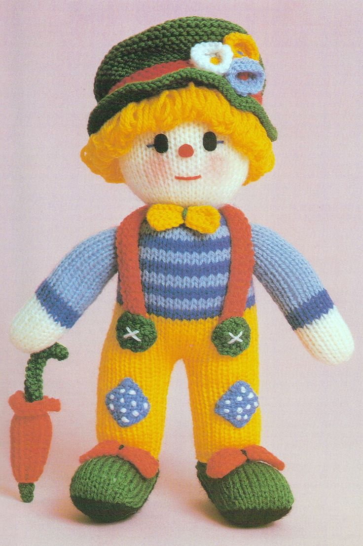 """I think this cuddly clown might be Jean Greenhowe's first published toy pattern, but I'm not sure. Either way he is very cute and as always the pattern is easy to follow and to do. He is made with DK wool together with a few other bibs and bobs and is about 30cm/12"""" tall. This version of the pattern was featured in Jean Greenhowe's """"Knitted Toys"""" book published by Book Club Associates in 1986."""