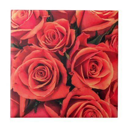 Roses Ceramic Photo Tile - custom gift ideas diy