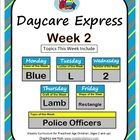 One week of lesson plans to be used by daycare, preschool, homeschooling, or stay at home parents. For children ages 2-7.  Week 1  Monday: Color Bl...