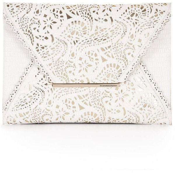 BCBGMAXAZRIA Harlow Laser-Cut Envelope Clutch ($90) ❤ liked on Polyvore