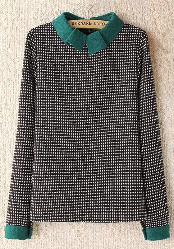 Green Polka Dot Long Sleeve Cotton Blend Blouse: