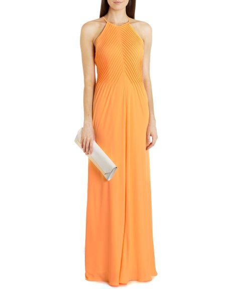 Pin tuck maxi dress - Tangerine | Dresses | Ted Baker UK