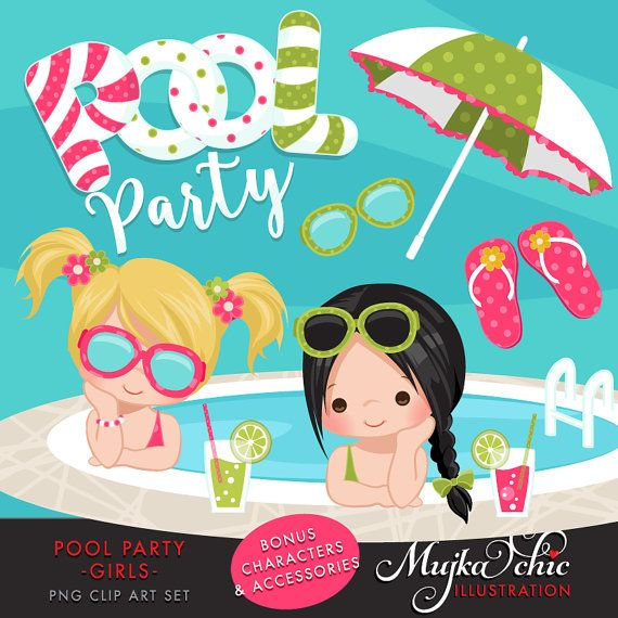 Pool Party Clipart for Girls. Little girls with pool by MUJKA
