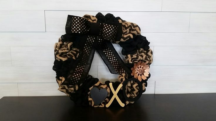 Two-tone Custom Burlap Wreath with Bow and Accents #burlap #chevron #polkadots #xoxo #black #gold #bow #wreath #wreathideas #goldenforrest #goldenforrestcreations #unique