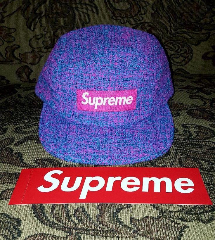 Supreme Boucle Box Logo Camp cap in Blue   S/S 18 w/Red BOGO in hand  #Supreme #Campcap