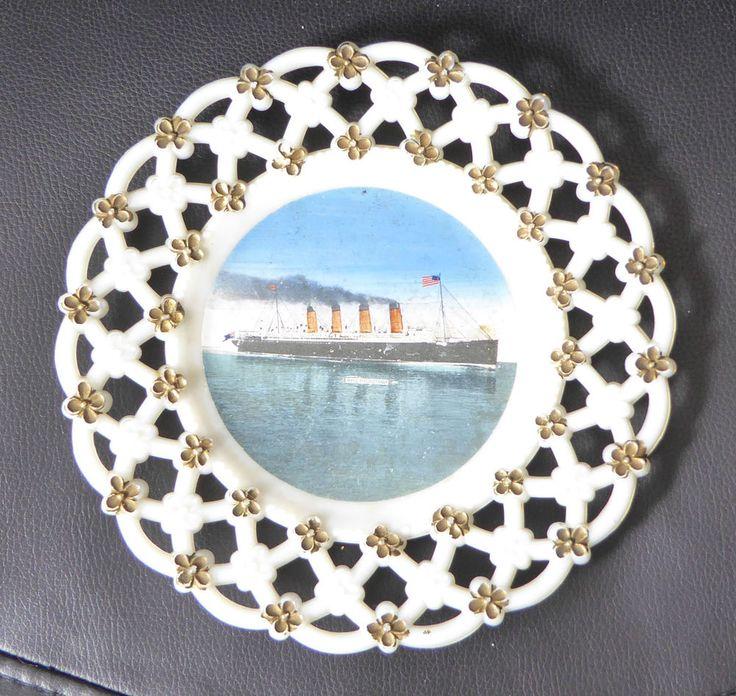 RMS Mauretania souvenir ribbon plate