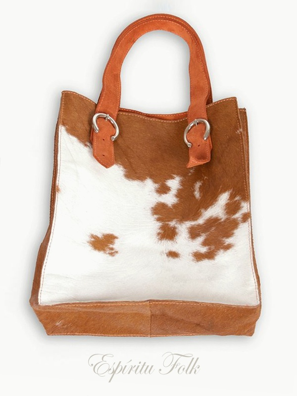COW SHOPPING BAG $180.- Real leather mix brown & white. Collection available at espiritufolkstore...