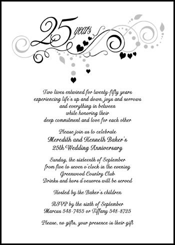 Customize and then instantly preview your embellished 25th silver flourish wedding anniversary party invitation design and save with current discounts to 99¢ each, lots of anniversary wording samples, and even more party invite card designs at http://www.invitationsbyu.com/25th-silver-wedding-anniversary.htm