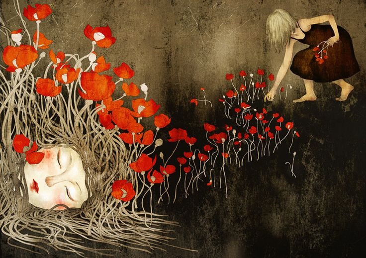 flowers  by *moonywolf: Artists, Mooni Khoa, Khoa Le, Artworks, Behance, Illustrations, Red Poppies, Fantasy Art, Flowers Art