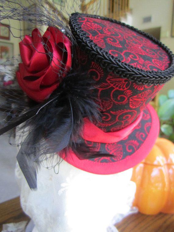 Women's, Steampunk, Victorian, Moulin Rouge, Halloween, Gothic, Mini Top Hat