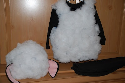 HOW TO make a sheep costume with batting, black long sleeve Tshirt, black beanie, black & pink felt and fabric (or hot) glue