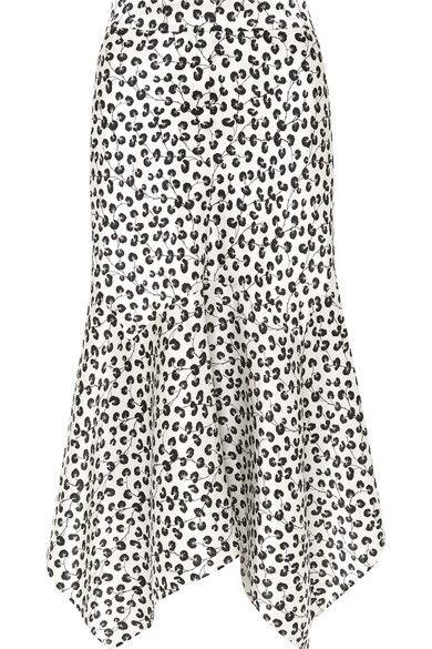 eac5676d2 GANNI | Dufort asymmetric printed silk-satin midi skirt | NET-A-PORTER.COM