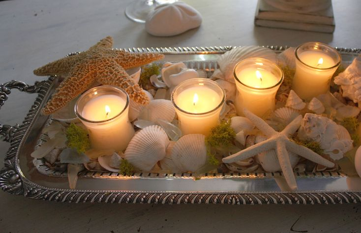 Starfish,Shells,and Candles...beautiful!: Summer Centerpieces, Silver Trays, Candles Centerpieces, Shells Candles, Tables Centerpieces, Romantic Home, Summer Decor, Holidays Decor, Coastal Christmas