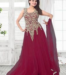 Buy Magenta embroidered net semi stitched party wear gowns party-wear-gown online