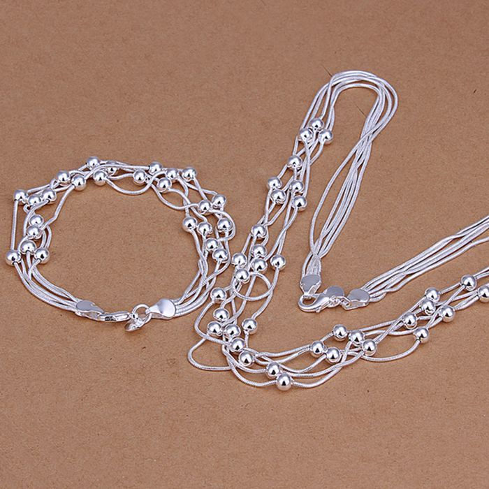 925 jewelry silver plated jewelry set, Nickle free antiallergic Five Lines Of Bean Two-Piece Jewelry Set vnq vitn