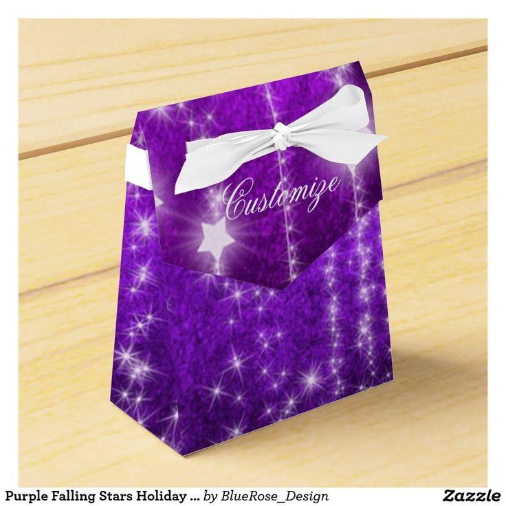 Purple Falling Stars Holiday Tent Favor Box