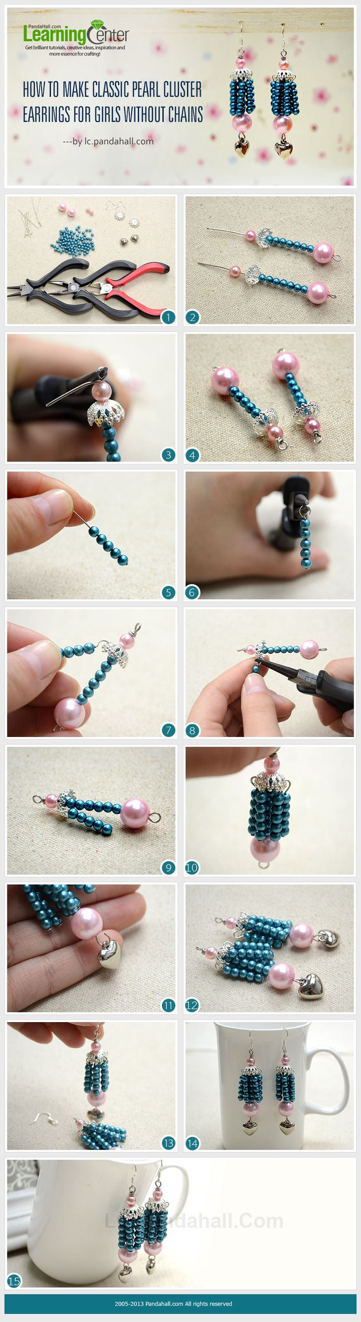 How to Make Classic Pearl Cluster Earrings for Girls without Chains