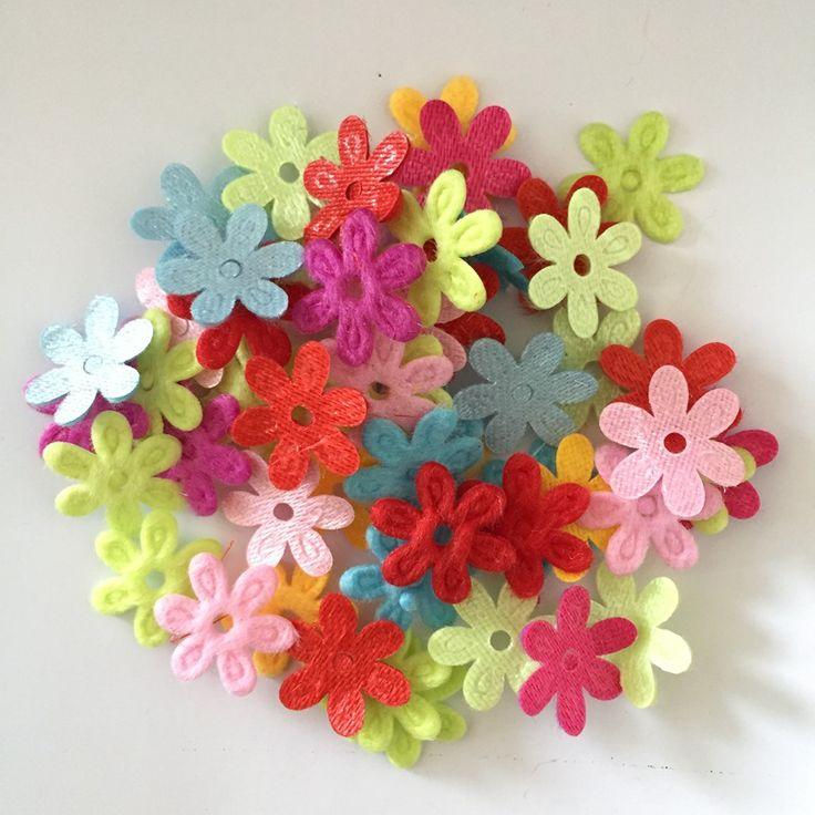 100pcs Random mixed Padded Felt Spring Flower Appliques Craft DIY Wedding decoration A29A