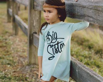 Vestido de la hermana mayor, embarazo anuncio camisa, camisa de hermana