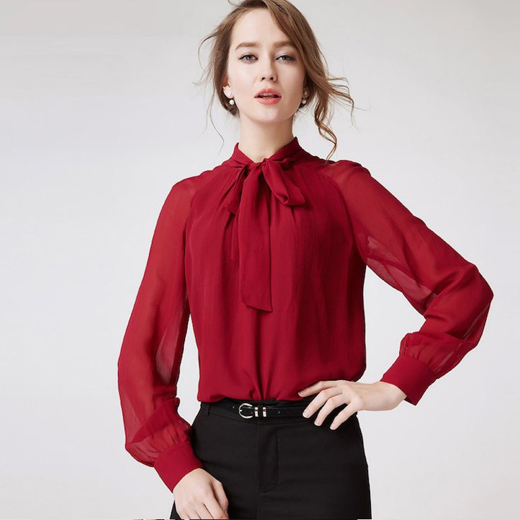 ==> [Free Shipping] Buy Best 100% Silk Chiffon Shirt Pure Silk Chiffon Blouses Women Shirts Office Lady Shirts New Arrival Wholesale Free Shipping Online with LOWEST Price | 32654954689