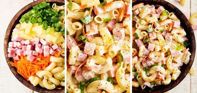 Ensalada Hawaiana de pasta con piña y jamón #recetas