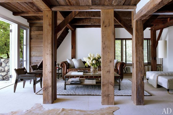 Shawn Levy's Modern Farmhouse: Modern Farmhouse, Celebrity Style, Living Rooms, Farms Houses, Expo Beams, Hudson Valley, New York, Architecture Digest, Wood Beams