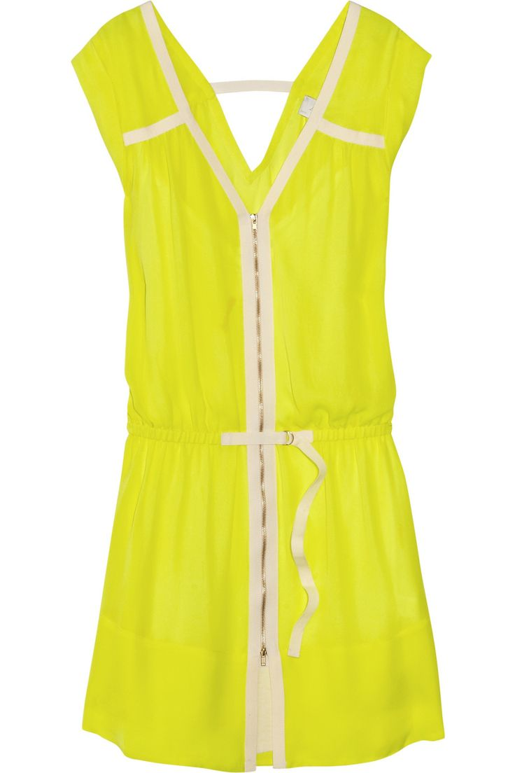Meg washed-silk dress by A.L.C.Summer Dresses, Meg Washed Silk, Washed Silk Dresses, Design Dresses, Alc, Couture Collection, Neon Dresses, Bright Yellow, Neon Yellow