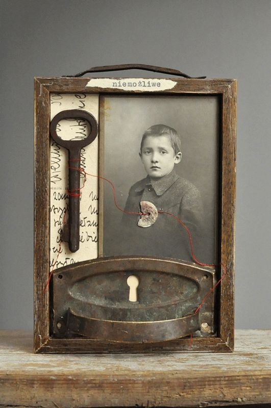 Assemblage art with old photo and key. No link to origin or description of creator. Come on Pinners! Always give credit and link to source!