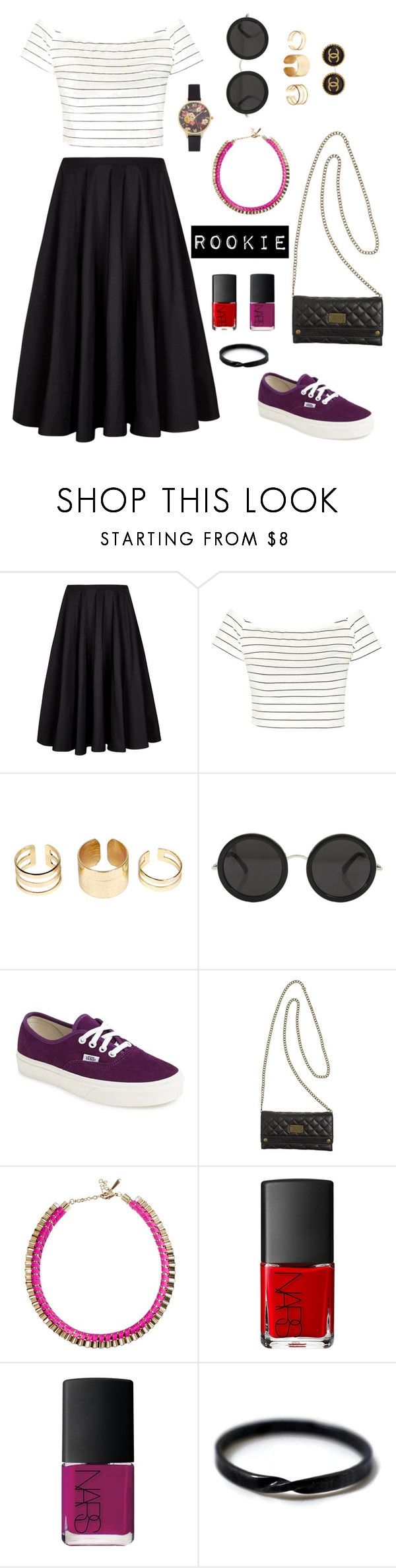 """oh rookie"" by lulusyanastia ❤ liked on Polyvore featuring Ted Baker, Boohoo, The Row, Vans, John & Pearl, NARS Cosmetics and Olivia Burton"