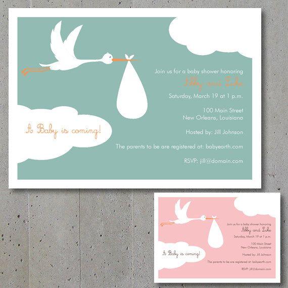 Flying Stork Baby Shower Invitation By DotandLineDesign On Etsy, $24.00