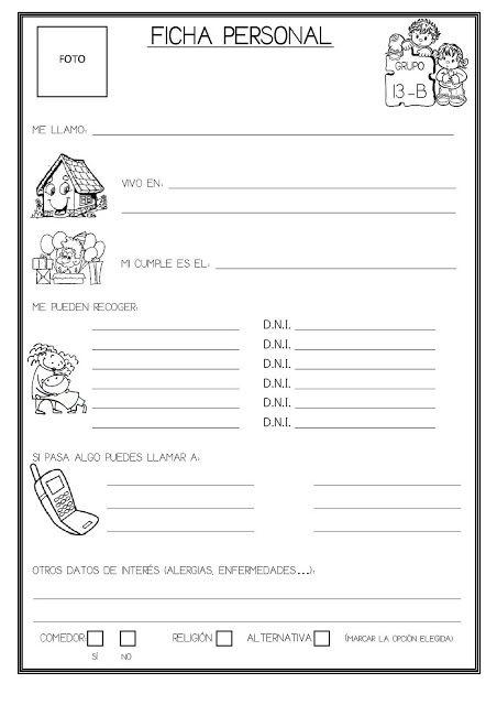 Recursos Infantiles: Ficha personal del Alumno