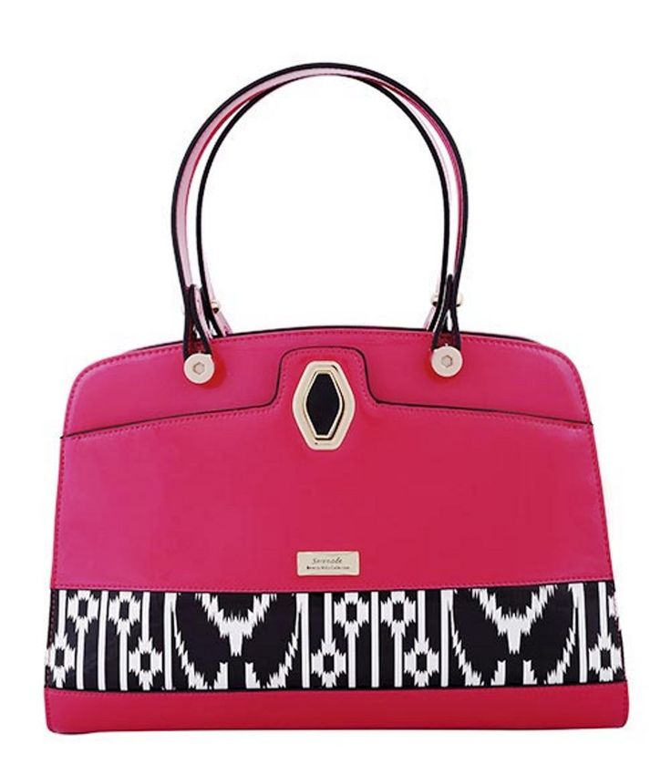 Serenade Aztec Pink Leather Matrix Pattern Square Tote. SH53-7398.