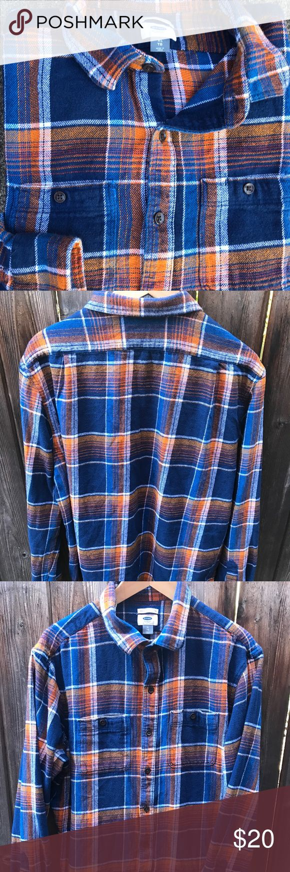 Old Navy Plaid Button Down Blue/orange plaid button down. 100% cotton. Worn for one season. In great condition. Old Navy Shirts Casual Button Down Shirts