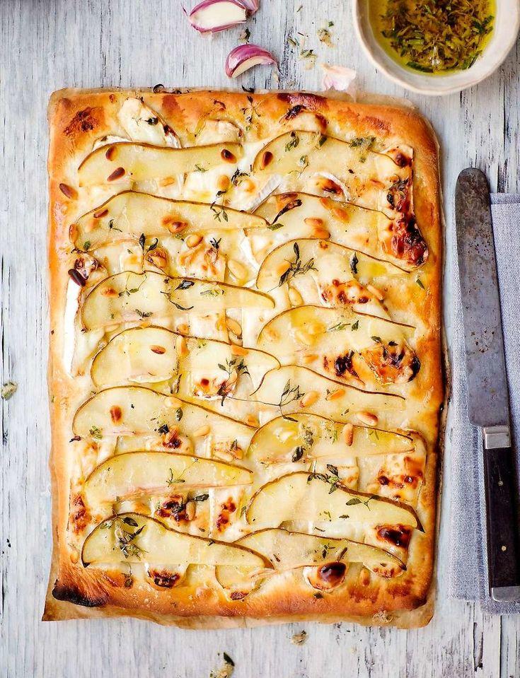Pizza chèvre med päron och honung