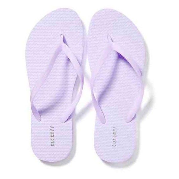 Old Navy Womens Classic Flip Flops ($2.50) ❤ liked on Polyvore featuring shoes, sandals, flip flops, lyras lilac, old navy shoes, twisted shoes, strap shoes, traction shoes and lilac shoes